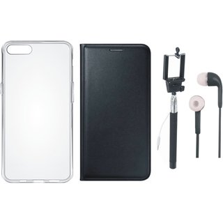 Vivo Y55 Premium Quality Leather Cover with Silicon Back Cover, Selfie Stick and Earphones