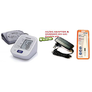 Omron HEM-7120 Blood Pressure Monitor Digital Thermometer and Free Adaptor and Charger (6V)
