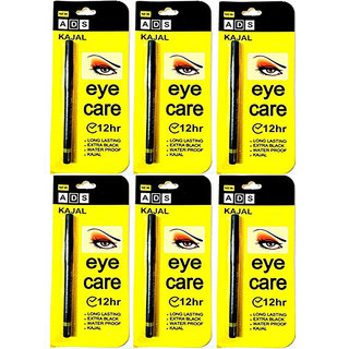 ADS EYE CARE KAJAL LONG LASTING EXTRA BLACK WATER PROOF KAJAL  12 HR For Women - Pack Of 6