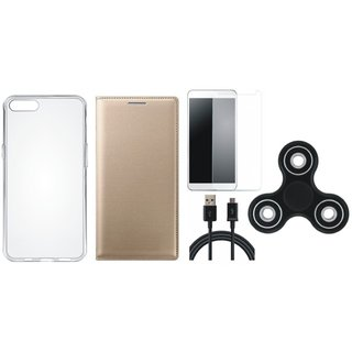 Vivo Y55L Premium Leather Case with Spinner, Silicon Back Cover, Tempered Glass and USB Cable