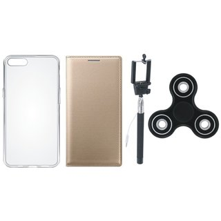 Vivo Y55L Premium Leather Case with Spinner, Silicon Back Cover and Selfie Stick