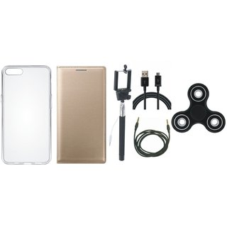 Vivo Y55L Premium Leather Case with Spinner, Silicon Back Cover, Selfie Stick, USB Cable and AUX Cable