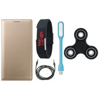 Vivo Y55L Premium Leather Case with Spinner, Digital Watch, USB LED Light and AUX Cable