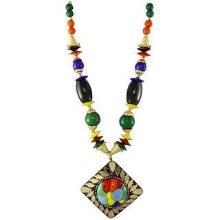 Single Strand Multi-Colour Necklace with Square Shape Pendant