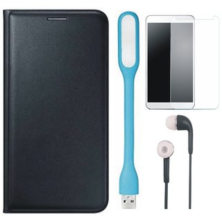 K6 Note Flip Cover with Tempered Glass, Earphones and USB LED Light