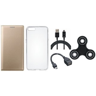 K6 Note Premium Leather Case with Spinner, Silicon Back Cover, OTG Cable and USB Cable