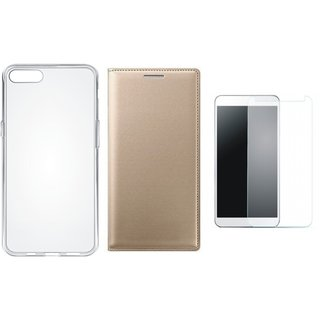 K6 Note Stylish Leather Flip Cover with Silicon Back Cover, Tempered Glass