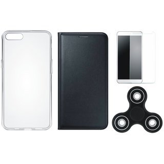 Lenovo K8 Note Stylish Leather Cover with Spinner, Silicon Back Cover, Tempered Glass
