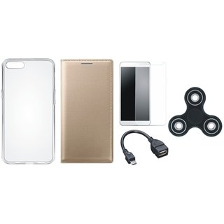 Lenovo K8 Note Premium Leather Case with Spinner, Silicon Back Cover, Tempered Glass and OTG Cable