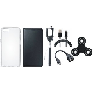 Lenovo K8 Note Stylish Leather Cover with Spinner, Silicon Back Cover, Selfie Stick, OTG Cable and USB Cable