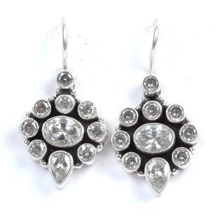 PeenZone 92.5 Sterling Silver Cubic Zirconia Earrings For Women  Girls
