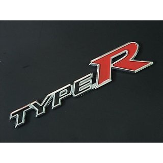 Type R 3D Logo Metal Chrome Black  Red Badge Sticker for All Bike Car