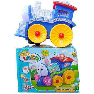 OH BABY, BABY 3D LIGHT  MUSICAL POWER WITH AUTOMATIC SENSOR FUNNY LOCO TRAIN BLUE COLOR TOYS FOR YOUR KIDS SE-ET-11