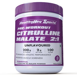 HealthyHey Sports Citrulline Malate 21 - 200 Grams  100 Servings (Unflavoured  200gm)