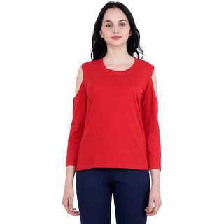 Camilla Max, 3/4 Sleeve, U Neck, Red Color, Casual Top for Girl's and Women's