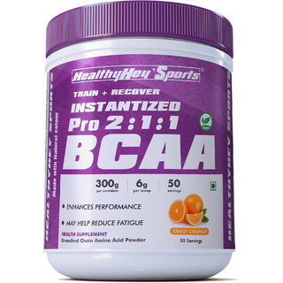 HealthyHey Sports BCAA Powder 211, Branched Chain Amino Acids, BCAAs, Tangy Orange, 50 Servings