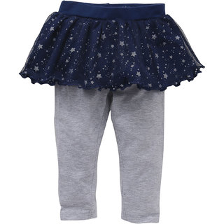EIMOIE Girls Printed Skirt with Attached Solid Leggings (Navy Milange)