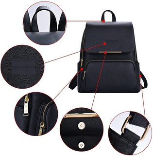 96c84630d1 ... Styler king Women Girls Ladies Backpack Fashion Shoulder Bag Rucksack  PU Leather Travel bag (black ...