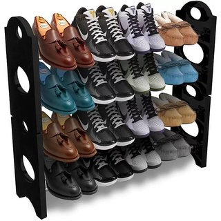 Lavi Black shoe stand Steel Plastic Shoe Rack (Black 12 Shelves)