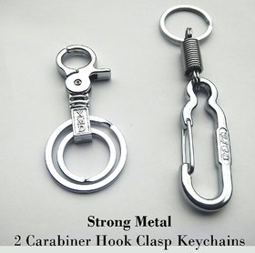 2 pieces Strong Metal Coil Spring Carabiner Hook Clasp Keychain Key Ring clip