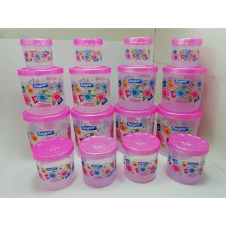 Sagar Airtight With Twister Plastic Containers Set of 16 PCS (2400ml 1600ml 800ml 400ml) Pink