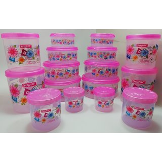 Airtight With Twister Plastic Container Set of 16 PCS (2500ml 2400ml 1800ml 1600ml 1000ml 800ml 500ml 400ml) Pink