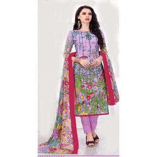 Women's Cotton Unstitched Printed Salwar Suit Dupatta Material
