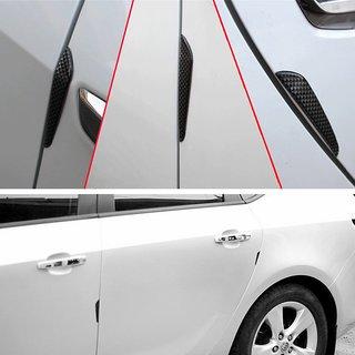 4pcs/lot Black Silver Carbon Fiber Fit Front Bumper Lip Splitter Fin Air Knife Auto Body Kit Car Spoiler