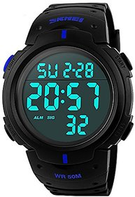 TRUE COLORS Black Round Dial PU Plastic Digital Analog Sport Watch For Men 6 MONTH WARRANTY