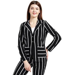 Texco Women Black and white Cotton jersey Regular Blazer