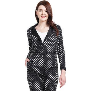 Texco Women Black and white Polyester Regular Blazer