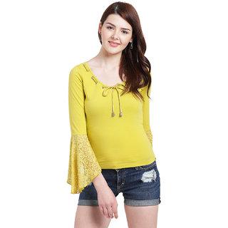 c128734b70402 Buy Texco Women Yellow Cotton jersey Regular Lace Top Online - Get ...