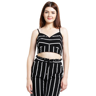 2d88c77e2b15a Buy Texco Women Black and white Cotton jersey Crop top Online - Get ...