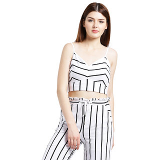 96a1b90ae47b6 Buy Texco Women White and black Cotton jersey Crop top Online - Get ...