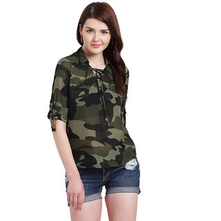 e38e8519177996 Buy Texco Women Olive green Polyester Regular Shirt Online - Get 62% Off