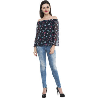 cf91ae670b277 Buy Off Shoulder Fully Linned Printed Chiffon Top Online - Get 52% Off
