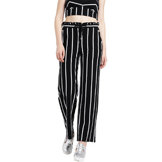 Texco Women Black and white Cotton jersey Ankle length Trousers