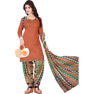 Drapes womens Orange Cotton Printed Patiyala Dress Material (UnStitched) DF2171
