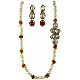 Hazel Art's White Pearls Ethnic Necklace with Matching Earrings in Antique Polish for Girls  Women
