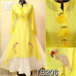 Utsav New Excellent Yellow Chanderi Anarkali Style Kurtis