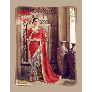Vipul Branded Designer Georgette  Half & Half Embroideried Catalog Saree