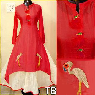 Utsav New Excellent Red Chanderi Anarkali Style Kurtis