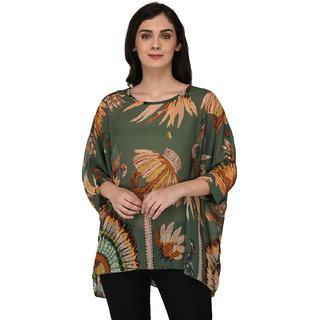 55a6cd80d1af2 Buy Paparazzi Closet Womens Leaf Print Chiffon Green Shirt Top Online - Get  63% Off