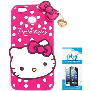 TBZ Cute Hello Kitty Soft Rubber Silicone Back Case Cover for Vivo V7 Plus with Tempered Screen Guard -Red