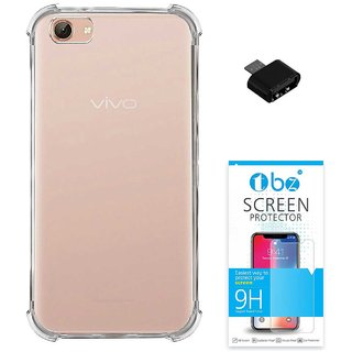 TBZ Transparent Bumper Corner TPU Case Cover for Vivo Y71 with OTG Adaptor and Tempered Screen Guard