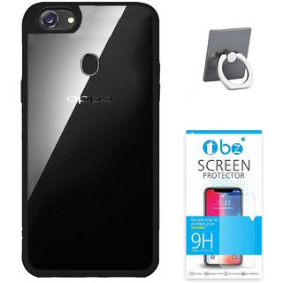 TBZ Transparent Hard Back With Soft Bumper Case Cover For OPPO F7 Phone Ring Holder