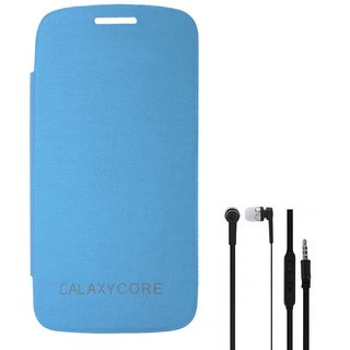 TBZ Flip Cover Case for Samsung Galaxy Core I8260 with Earphone -Blue