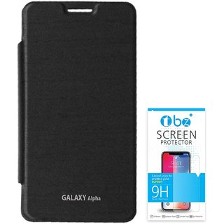 TBZ Flip Cover Case for Samsung Galaxy Alpha with Tempered Screen Guard -Black