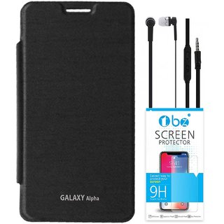 TBZ Flip Cover Case for Samsung Galaxy Alpha with Earphone and Tempered Screen Guard -Black