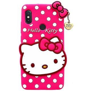 TBZ Hello Kitty Soft Rubber Silicone Back Case Cover for Vivo V9 -Magenta